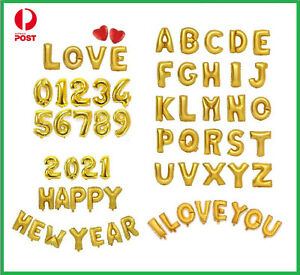 16inch Gold Foil Balloons Alphabet Letter Number Birthday Party Wedding Love