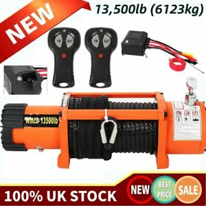 Electric Recovery Winch 12V 13500lb Heavy Duty Synthetic Nylon Rope 27 Meter