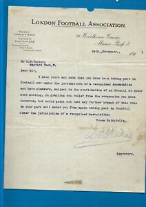 1911 London Football Association on headed notepaper signed by Thomas Kirkup