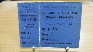 England v Australia at Notts CCC 1921 Test Match Admission