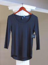 CYNTHIA ROWLEY Black Scoop Neck 3/4 SLEEVE Tee Shirt Top Size XS NWT