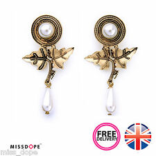 NEW GOLD LEAVES PEAR DROP PEARL EARRINGS WOMENS LADIES STUD VINTAGE STATEMENT UK
