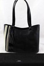 BCBG Max Azria Black Patent Gray White Stripe Satchel Shoulder Bag Purse New