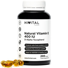 Vitamina E Natural 400 UI | 200 cápsulas blandas (más de 6 meses de suministro)