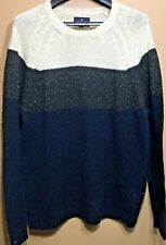 New American Eagle Men's XL Blue Green and cream Knitted sweater