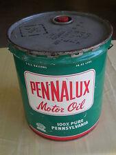 Original 1960's  MOTOR OIL TIN- PENNALUX  100% PURE  PENNSYLVANIA  5 GALLONS -