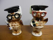 Vintage Lefton Wise Owls 1956 Ceramic Salt & Pepper Shakers Set Rhinestone Eyes