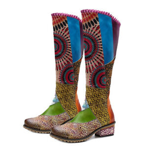 Womens Bohemian Knee High Leather Vintage Floral Pattern Tall Boots