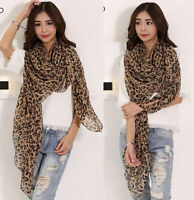 Fashion Womens Long Style Wrap Lady Shawl Leopard Chiffon Scarf Scarves Stole