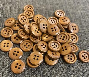 10 x 15mm Coffee Brown Wooden Buttons - Australian Supplier