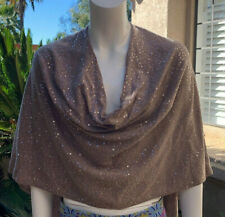 Minnie Rose NYC NWT cashmere caplet shawl tan with sequins