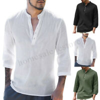 Mens Cotton Casual Shirts Linen Blouse 3/4 Sleeve Fitted Button T-shirt Tops Hot
