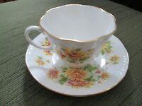 Royal Dover Fine Bone China Tea Cup & Saucer Chrysanthemums England