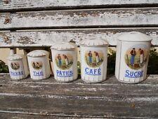 5 pots à épices en porcelaine l'Angélus , marque  Foécy Lourioux