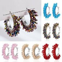 Fashion Handmade Crystal Bead Earrings Women Big Geometric Drop Dangle Ear Hoop