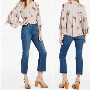 Lucky Brand Top Womens Size Medium Beige Duquet Ruffle Bell Sleeve Floral Blouse