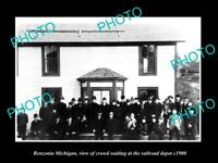 OLD LARGE HISTORIC PHOTO OF BENZONIA MICHIGAN THE RAILROAD DEPOT STATION c1900