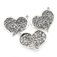 20 Pendentifs Breloques Coeur Filigrane Pour Collier Bijoux Accessoire 3.7x2.9cm