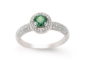 Emerald Ring Halo Ring Engagement Ring Sterling Silver Ring Platinum Plated
