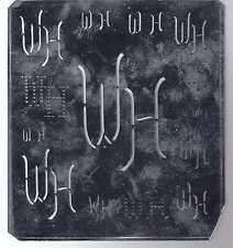 Große Monogramm Schablone WH  Jugendstil  Weißblech 15,5 x 18 cm Weissstickerei
