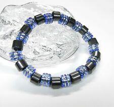 NEU MAGNETARMBAND mit 8+9mm HÄMATIT PERLEN schwarz/blau ARMBAND Magnet