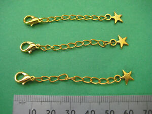 Extender Chain with Lobster Clasp and Star, Gold Plated