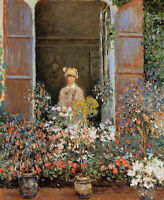 Art Oil painting Claude Monet - Camille Monet at the Window, Argentuil & flowers