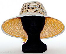CHAPEAU habillé réversible tailles XS / S femme orange et gris été de soleil hat