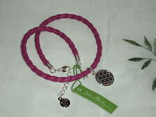 Vera Bradley Canterberry Magenta Braided Charm Bracelet Faux Leather BIN$22