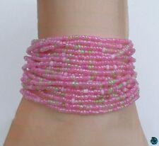 Bracelet Mia Multirang Tibétain Rocailles Rose Vert Fil Crocheté Fermoir Bouton