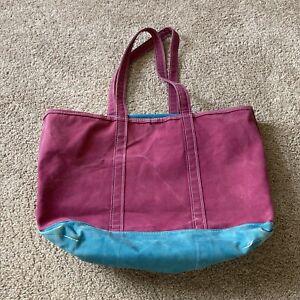 Rare Color Purple Vintage LL BEAN Canvas BOAT AND TOTE Bag HUGE Zipper XL USA