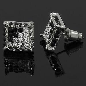 Mens Silver & Black Cz Cube Hip Hop Micro Pave Stud Earrings