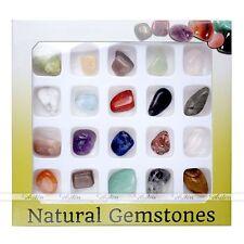 20 Irregular Shape Variety Gemstones Natural Polished Rock Beads Collection Box
