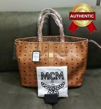 NEW Authentic MCM Large Reversible Liz Shopper tote bag COGNAC BROWN