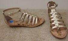 SAM EDELMAN 'Donna' Gold Snake Embossed Gladiator Wedge Sandal 7.5M NEW!