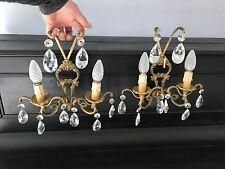 Lot de 2 appliques Bronze pampilles cristal, numérotées
