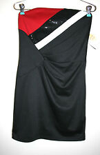 NEW Womens JESSICA MCCLINTOCK Red White Black Sequins Strapless Bodycon Dress 8
