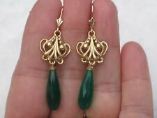 OOAK 14K Solid Yellow Gold Green Onyx Briolette Drop Dangle Earrings 2 1/8 Inch