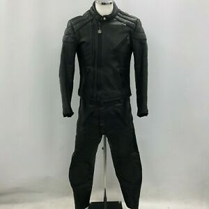 Stein 2 Piece Motorcycle Suit Mens 40 W34 Black Leather Jacket Trousers 250361