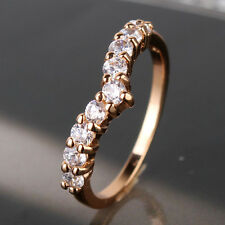 Vintage style 18K gold filled white sapphire Eternity band hot ring SzJ-SzR