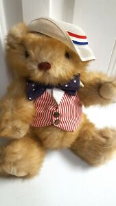 """Gorham 1986 Jointed Teddy Bear Jonathan July Bear of the Month 12"""""""