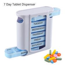 Caja de almacenamiento organizador dispensador tableta medicina píldora 7 días