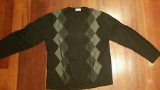 Concepts by Claiborne Black Gray Argyle Cotton V Neck Sweater Men's XXL