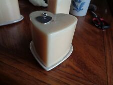 Large Heart Shape Cream Candle w/Opalescent Ceramic Underplate & Heart Fob NEW