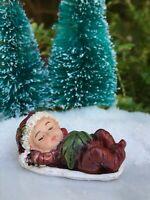 Miniature FAIRY GARDEN Winter CHRISTMAS Sleeping Baby Figurine Red w Santa Hat