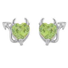 Peridot & Diamond Devil Heart Stud Earrings .925 Sterling Silver