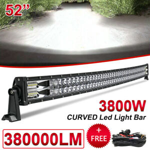 """52 INCH 3800W CURVED LED LIGHT BAR DRIVING OFF-ROAD SPOT FLOOD BEAM ROOF SUV 54"""""""