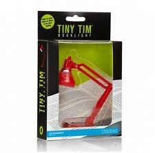 TINY TIM MINI BOOK LIGHT Clamp Red LED Reading Lamp Travel Clip On Booklight NIB