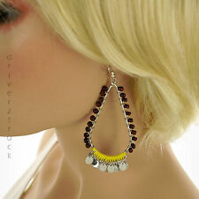 MUDD Wood Beads BROWN EARRINGS with YELLOW THREAD WRAP Dangle SILVER Tone DISKS