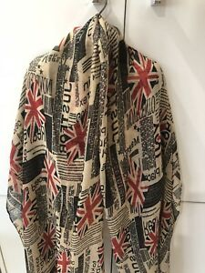 Union Jack UK Flag with small writing Print Scarf Beige/Red/Blue British Flag